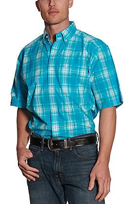 Ariat Pro Series Men's Bluebird Turquoise Plaid Short Sleeve Western Shirt