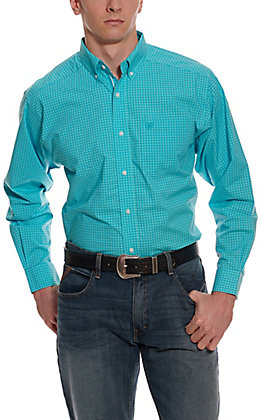 Ariat Men's Pro Series Kernersville Turquoise Plaid Long Sleeve Western Shirt