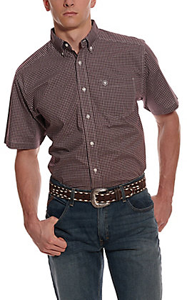 Ariat Men's Pro Series Ladera Maroon & White Plaid Short Sleeve Stretch Western Shirt