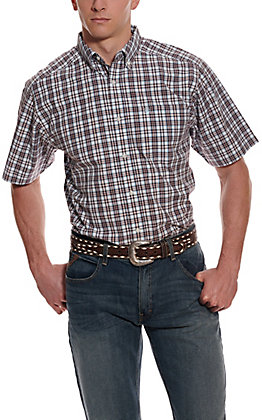 Ariat Men's Pro Series Leeds White, Blue & Maroon Plaid Short Sleeve Western Shirt