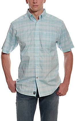 Ariat Men's Pro Series Neptune Blue & White Plaid Short Sleeve Western Shirt