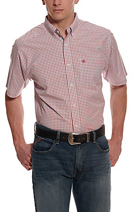 Ariat Men's Pro Series Norland Red & Blue Plaid Short Sleeve Western Shirt