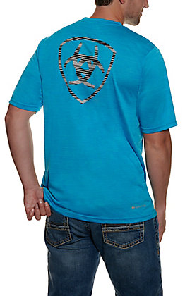 Ariat Men's Charger Turquoise TEK Heat Series Short Sleeve T-Shirt