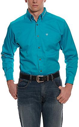 Ariat Men's Team Logo Blue Bird Turquoise Twill Long Sleeve Western Shirt