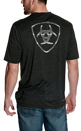 Ariat Men's Charger Heather Charcoal Grey Logo Short Sleeve TEK Tee