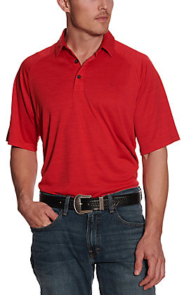 Ariat Men's Charger Crimson Flame Red Heat Series Polo Shirt