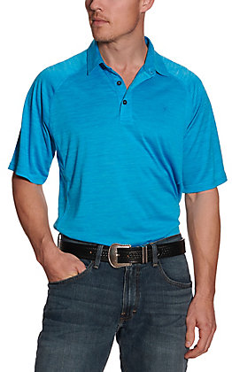 Ariat Men's Charger Nautilus Blue Heat Series Polo Shirt