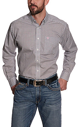 Ariat Men's Ilcott White Medallion Print Wrinkle Free Long Sleeve Western Shirt