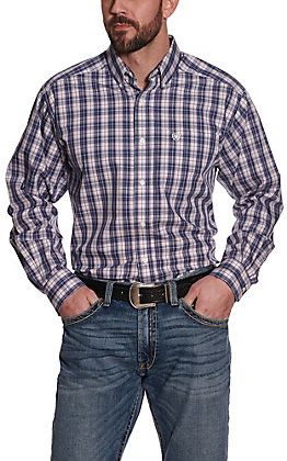 Ariat Men's Iola Pink and Navy Plaid Wrinkle Free Long Sleeve Western Shirt