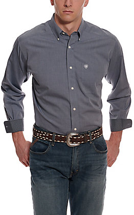 Ariat Men's Pinpoint Oxford Blue Wrinkle Free Long Sleeve Western Shirt