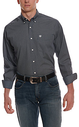 Ariat Men's Merritt Navy with White Geo Print Wrinkle Free Long Sleeve Western Shirt