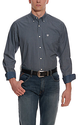 Ariat Men's Middleburg Navy & White Plaid Wrinkle Free Long Sleeve Western Shirt