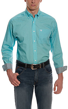 Ariat Men's Pasadena Aqua with Black Geo Print Wrinkle Free Long Sleeve Western Shirt