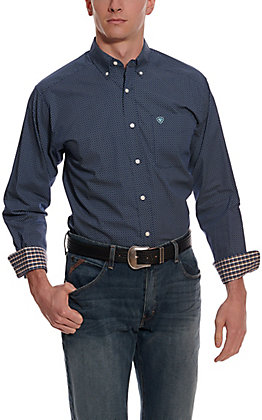 Ariat Men's Pismo Navy with White Print Wrinkle Free Long Sleeve Western Shirt