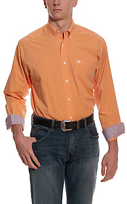 Ariat Men's Pinpoint Solid Orange Wrinkle Free Long Sleeve Western Shirt