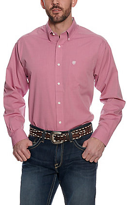 Ariat Men's Solid Washed Red Wrinkle Free Long Sleeve Western Shirt