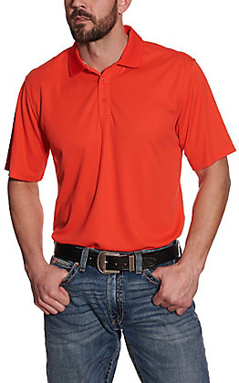 Ariat Men's TEK Tangerine Orange Heat Series Polo Shirt
