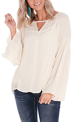 Ariat Women's Diana White with Lace Long Bell Sleeves Fashion Top