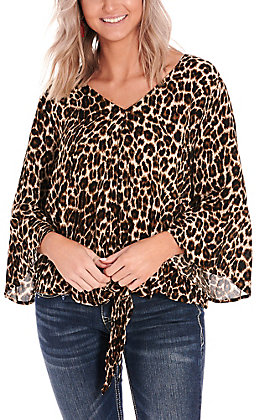 Ariat Women's Marilyn Leopard Print Tie Front 3/4 Sleeves Fashion Top