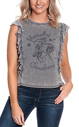 Ariat Women's Grey Howdy Cowboy Ruffle Burnout Cap Sleeve Tee