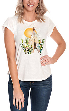 Ariat Women's White Teepee Cactus Graphic Keyhole Back Short Sleeve Tee