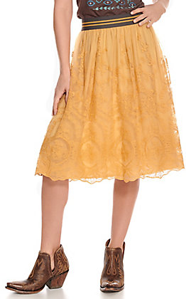 Ariat Women's Stevie Mustard Lace Skirt