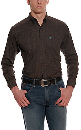 Ariat Men's Orinda Brown with Black Aztec Print Long Sleeve Fitted Stretch Western Shirt