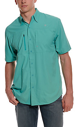 Ariat Men's VentTEK Meadowbrook Teal HeatSeries Short Sleeve Fishing Shirt