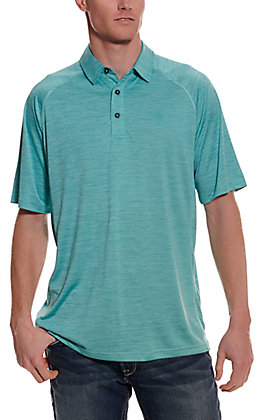 Ariat Men's Charger Botanical Blue Turquoise Short Sleeve Polo Shirt