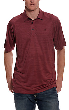 Ariat Men's Charger Maroon Short Sleeve Polo Shirt