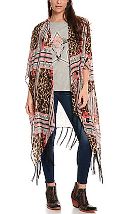 Ariat Women's Leopard Aztec and Floral Print with Fringe Kimono