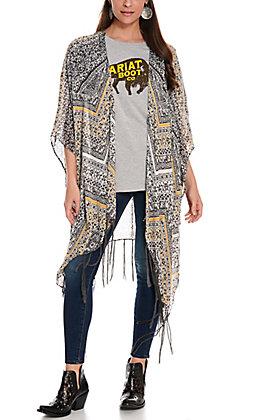 Ariat Women's Pappy's Charcoal Grey, White & Yellow Fringe Kimono
