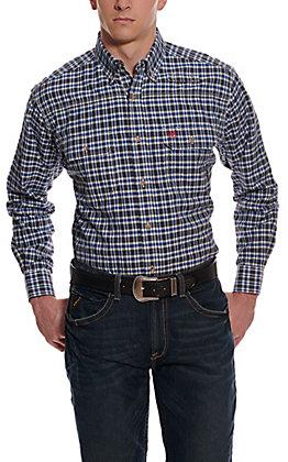 Ariat Men's Featherlight Blue and Black Plaid Long Sleeve FR Work Shirt