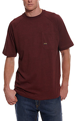 Ariat Men's Rebar Burgundy Heather Cottonstrong Short Sleeve Pocket Work T-Shirt