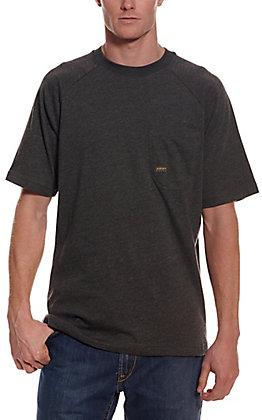 Ariat Men's Rebar Cotton Strong Charcoal Grey Heather Short Sleeve Pocket Work T-Shirt