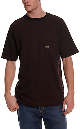 Ariat Men's Rebar Cotton Strong Dark Brown Short Sleeve Pocket Work T-Shirt