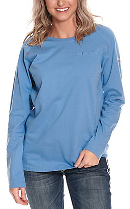 Ariat Women's Blue Heather Air Crew Long Sleeve FR Work T-Shirt