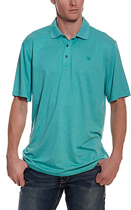 Ariat Men's Fade Emerald Steel Teal Stripe HeatSeries Short Sleeve Polo Shirt
