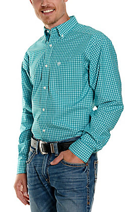 Ariat Men's Pro Series Vernell Turquoise and White Plaid Long Sleeve Fitted Western Shirt