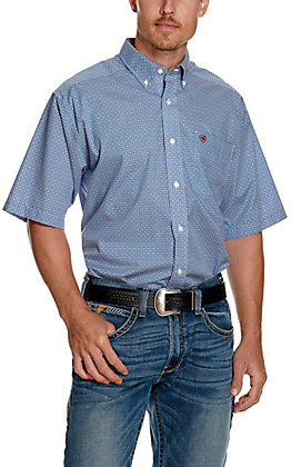 Ariat Men's Wharton Blue and White Geo Print Wrinkle Free Long Sleeve Western Shirt