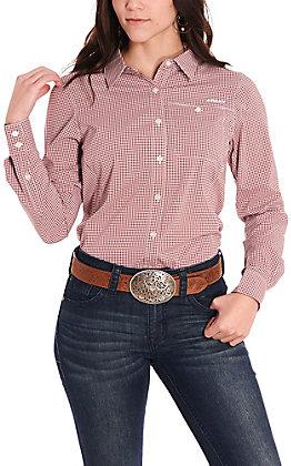 Ariat Women's VentTEK II Maroon and White Mini Check Long Sleeve Western Shirt
