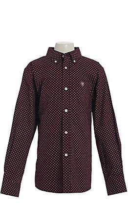 Ariat Boys' Burgundy Geo Print Long Sleeve Western Shirt