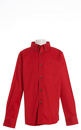 Ariat Boys' Cavender's Exclusive Ruby Red Twill Long Sleeve Western Shirt