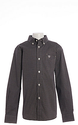 Ariat Cavender's Exclusive Boys' Black Medallion Print Long Sleeve Western Shirt