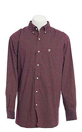 Ariat Cavender's Exclusive Men's Stretch Maroon Malbec Print Long Sleeve Western Shirt