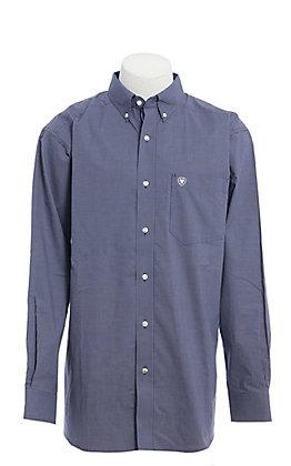 Ariat Men's Blue Mini Plaid Long Sleeve Western Shirt - Cavender's Exclusive