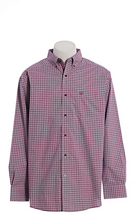 Ariat Cavender's Exclusive Men's Stretch Malbec Plaid Long Sleeve Western Shirt