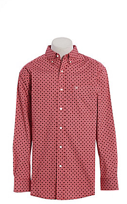 Ariat Cavender's Exclusive Men's Stretch True Red Ripley Print Long Sleeve Western Shirt
