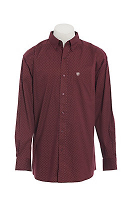 Ariat Men's Zellar Maroon with Black Diamond Print Cavender's Exclusive Stretch Long Sleeve Western Shirt