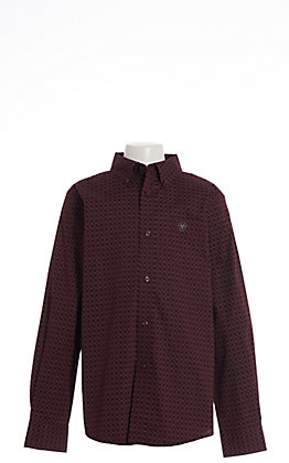 Ariat Boys' Cavender's Exclusive Malbec Albarado Print Long Sleeve Western Shirt